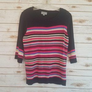 Joseph A  Sweater Striped 3/4 Sleeves Crew Neck